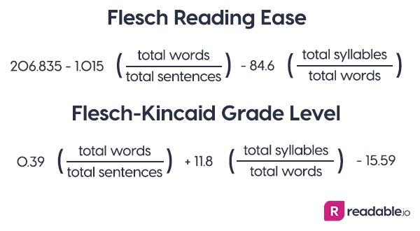 Flesch Reading Ease and Flesch-Kincaid Grade Level calculations