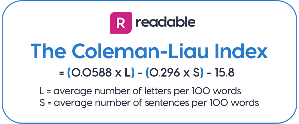 The Coleman Liau Index formula | Readable, free readability test