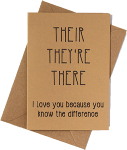 Their, they're, there, Valentine's card