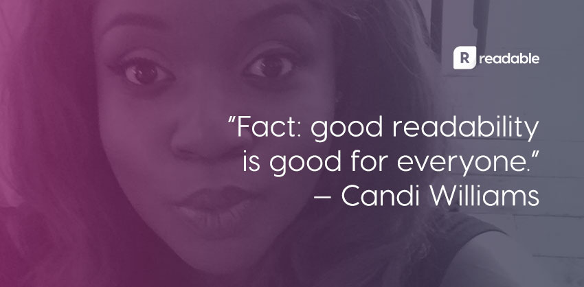 Candi Williams social | Readable, free readability test
