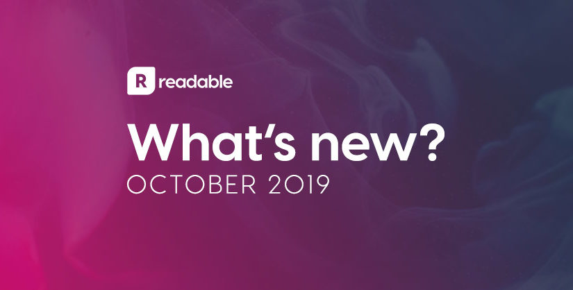 What's new in October? | Readable, free readability test for SEO and accessibility