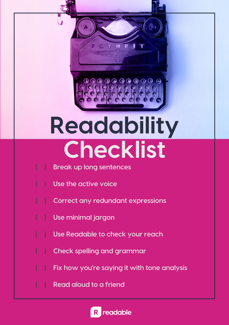 readability checklist | Readable, free readability test for content reach and SEO
