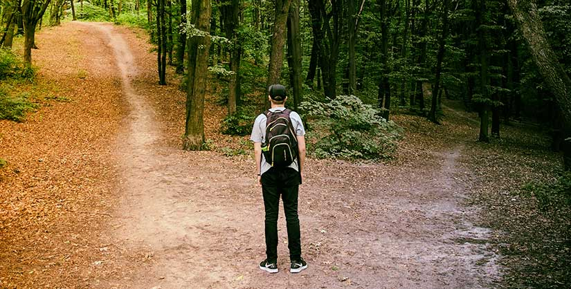 Man stands at a forked footpath in woods   Readable, free readability test