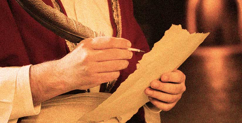 Man in historical dress holding feather quill and scroll | Readable, free readability test
