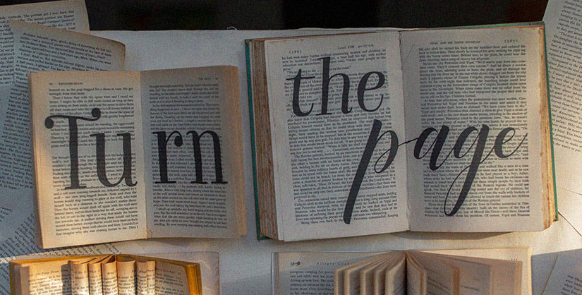 Lettering on book pages reads, 'turn the page' | Readable, free readability test