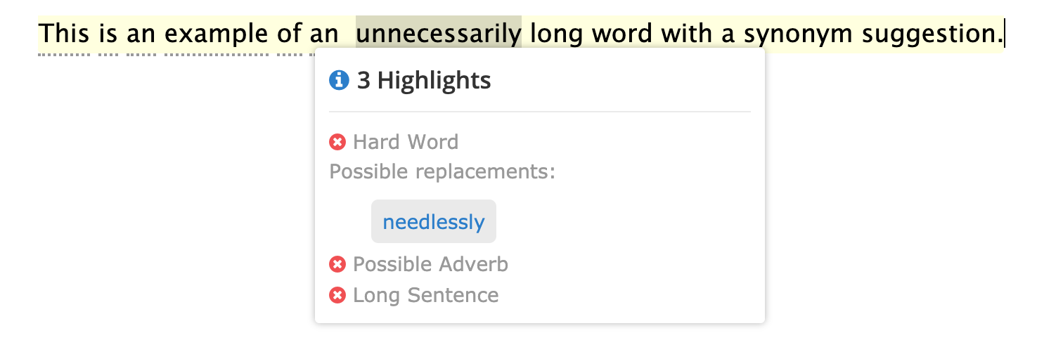 This is an example of an unnecessarily long word with a synonym suggestion | Readable, free readability checker